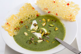 Broccoli soup with cheese tuiles