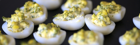 Quail eggs with dill