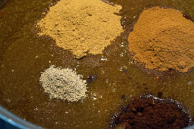 Spices added to the butter, syrup and treacle mixture