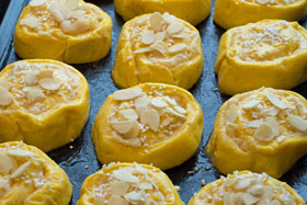 Saffron and almond buns ready to be baked