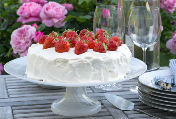 A lovely strawberry cream cake with a vanilla cream filling