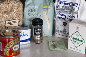 Ingredients for Danish rye bread