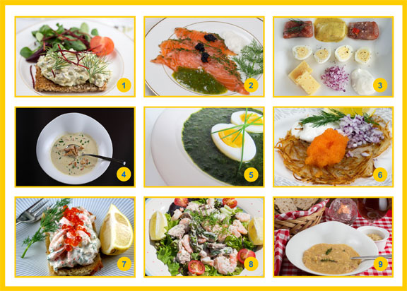 A collage of classic Swedish starters