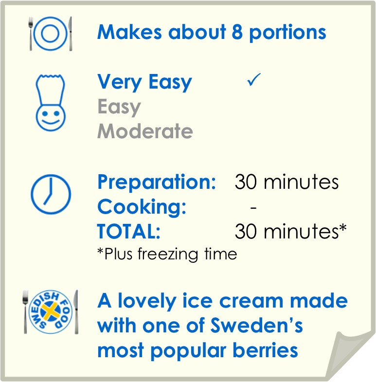 Recipe summary for bilberry ice cream