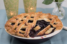 Blueberry lattice tart with cinnamon and lemon