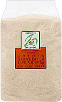 Packet of golden granulated sugar