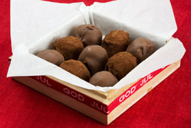 Chocolate truffles in a box for Christmas