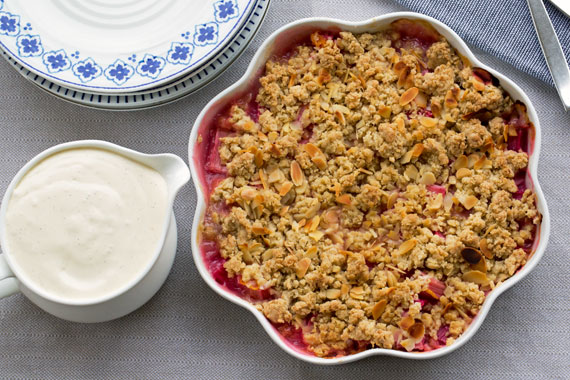 Swedish style rhubarb crumble with vanilla sauce