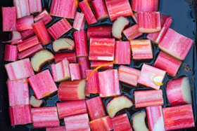 Rhubarb pieces about to be gently roasted