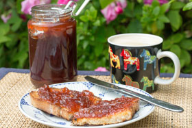 Rhubarb and strawberry jam on toast