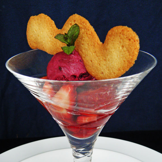 Absolut strawberries with almond tuiles