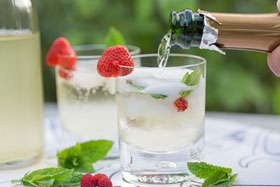 Elderflower cordial/syrup served with sparkling wine