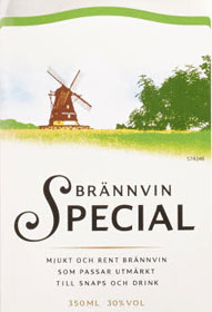 The label from a bottle of unflavoured brännvin