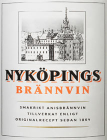 The label from a bottle of flavoured brännvin