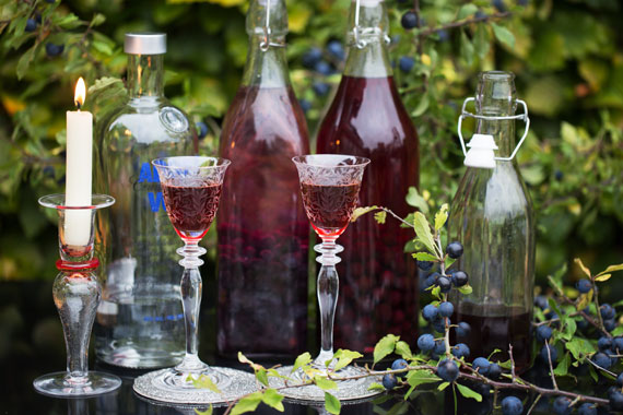 Two glasses of sloe snaps together with bottles being made