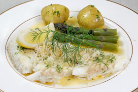 Slow baked brill with browned butter and grated horseradish