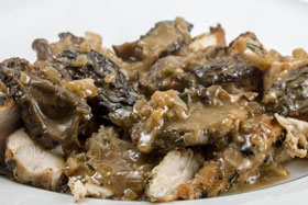 Chicken with morel sauce