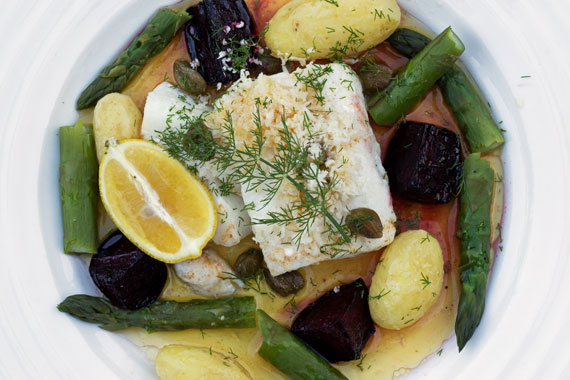 Baked cod with browned butter and baked beetroot