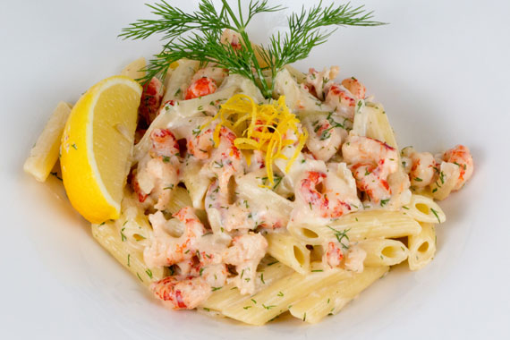 Crayfish tails with pasta