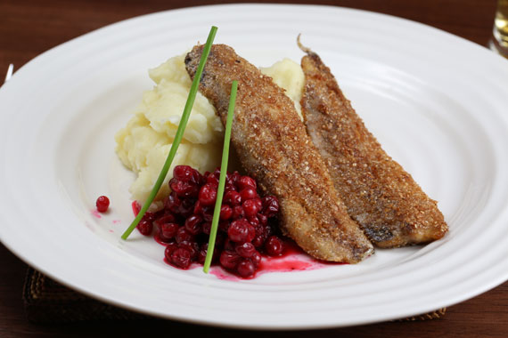 Fried baltic herring with mashed potato and lingonberries