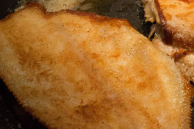 Sole fried in butter