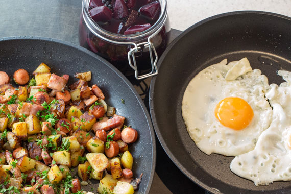 Swedish pyttipan with fried eggs and pickled beetroot
