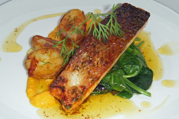 Crispy salmon with carrot puree