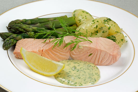 Cold poached salmon with new potatoes and dill mayonnaise