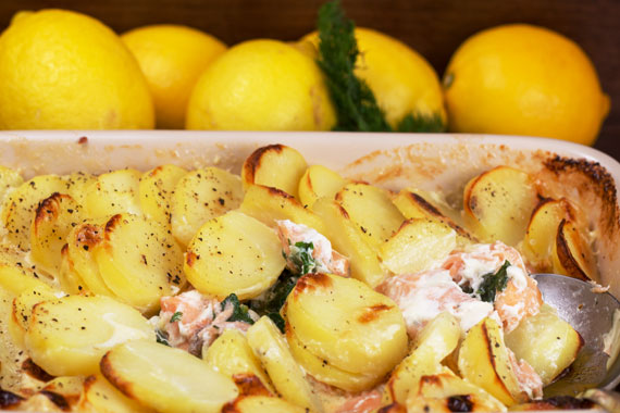 Salmon gratin with spinach, dill and parsley