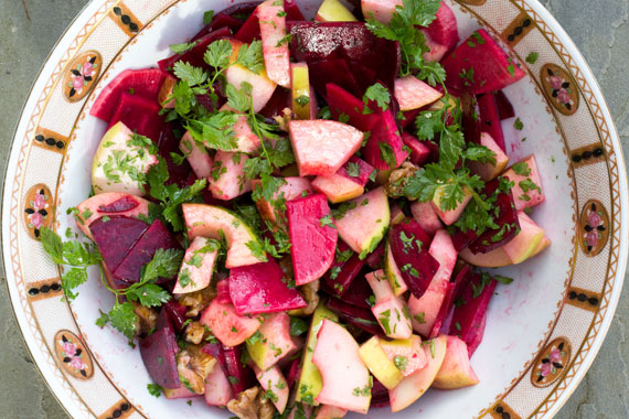 A dish of beetroot and apple salad