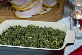 Creamed kale on a Swedish julbord