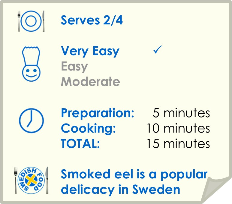 Recipe summary for smoked eel with scrambled eggs