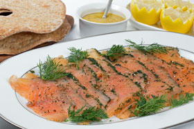 Gravad lax with dill and mustard sauce