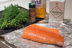 Gravadlax being prepared