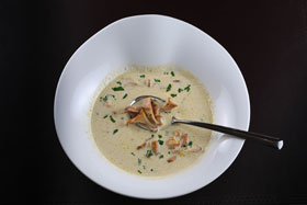 A bowl of wild mushrooms soup