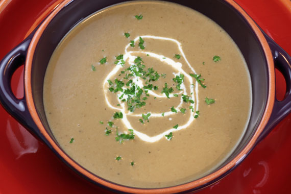 Wild mushroom soup made with dried porcini mushrooms