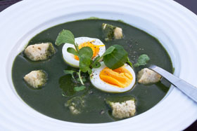 Nettle soup is traditionally served with hard boiled egg in Sweden