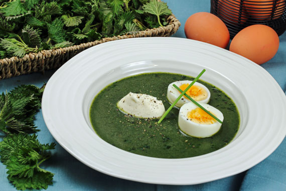 Nettle soup with hard boiled egg