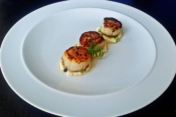 Porcini dusted scallops