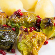 Swedish stuffed cabbage rolls with lingonberries