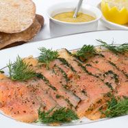 Swedish gravadlax with crispbread and mustard and dill sauce
