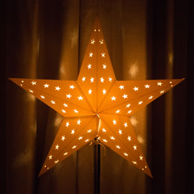 An Advent star in a window