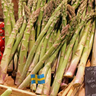Green asparagus on a market in Sweden