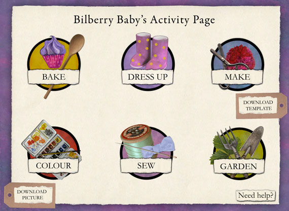 The activity page from Bilberry Baby