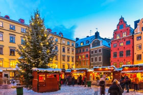 A view of the Christmas Market in Gamla Stan in Stockholm