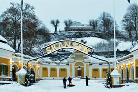 The entrance to Skansen in the snow