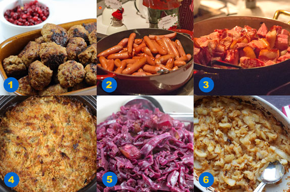 A selection of hot dishes from a Swedish julbord
