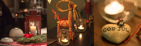 Candles and decorations at a Swedish julbord