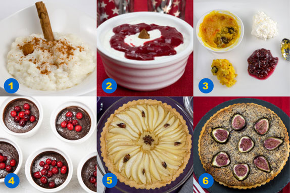 A selection of desserts from a Swedish julbord
