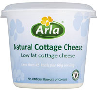 A tub of Arla cottage cheese as made for the UK market